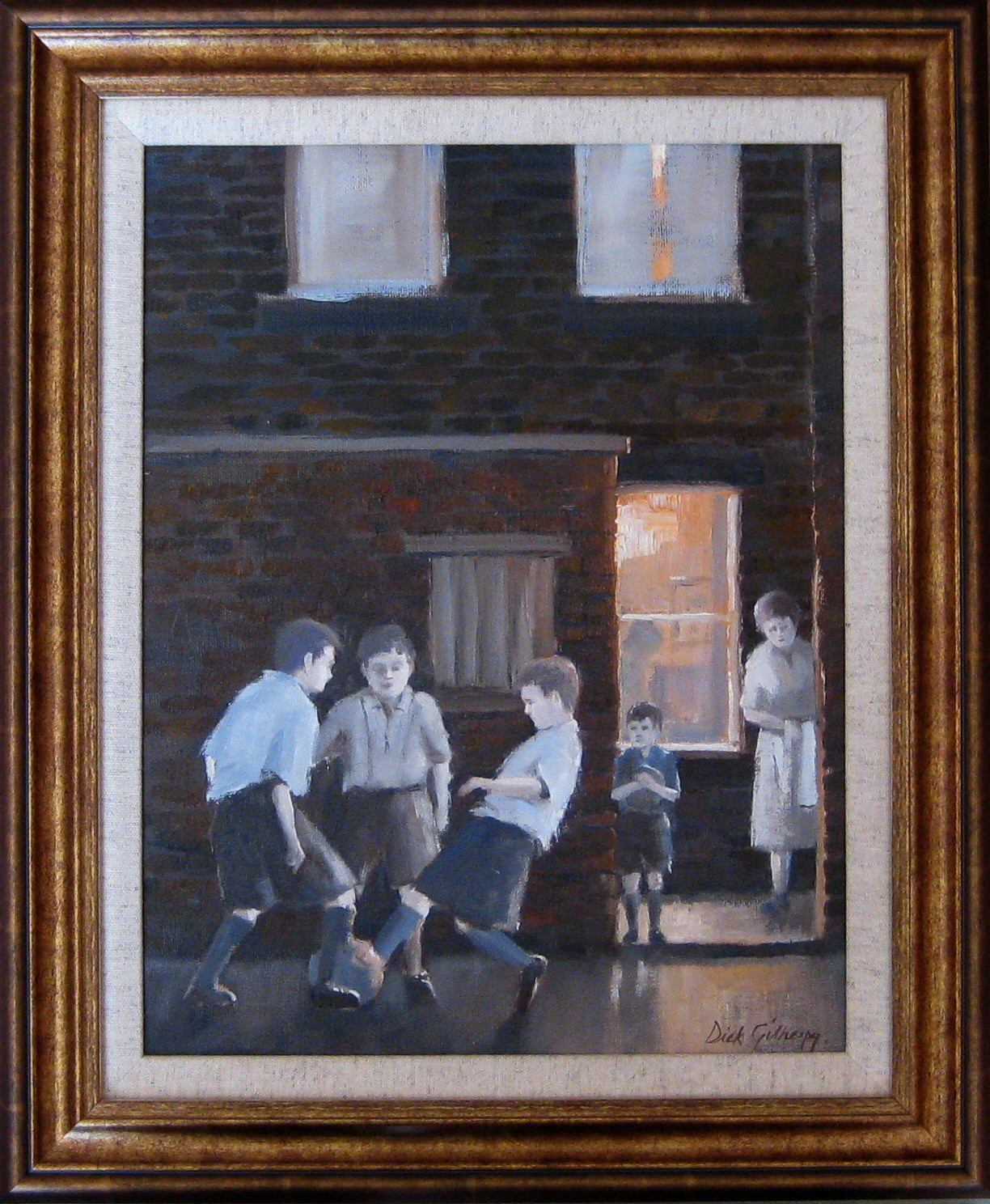 Its bedtime,  original  football painting, Dick Gilhespy