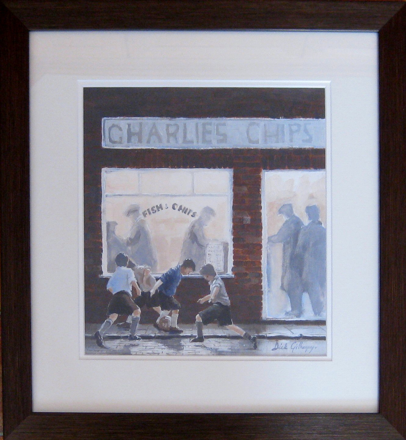 Charlies Chips,  original  football painting, Dick Gilhespy
