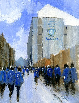 Everton FC football paintings by Dick Gilhespy